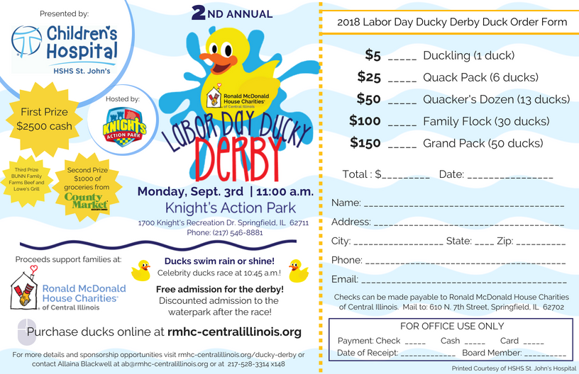 A celebrity duck derby will take place at 10:45 a.m. featuring local politicians, servicemen/women, radio and news personalities, community leaders, etc.