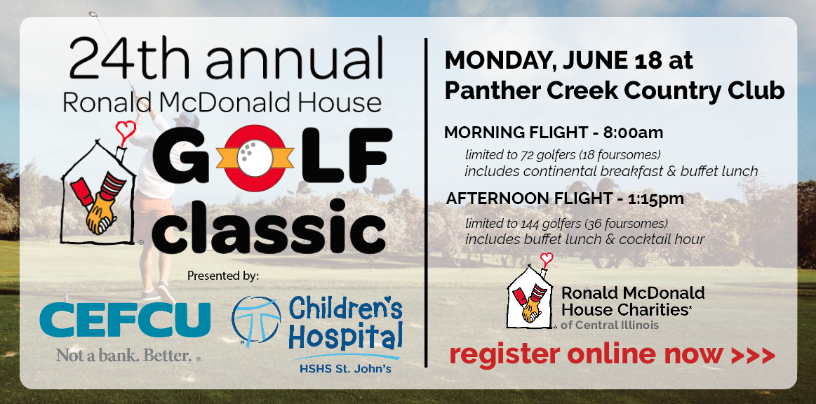 Join us on Monday, June 18, 2018 for the 24th Annual Ronald McDonald House Golf Classic at Panther Creek Country Club!
