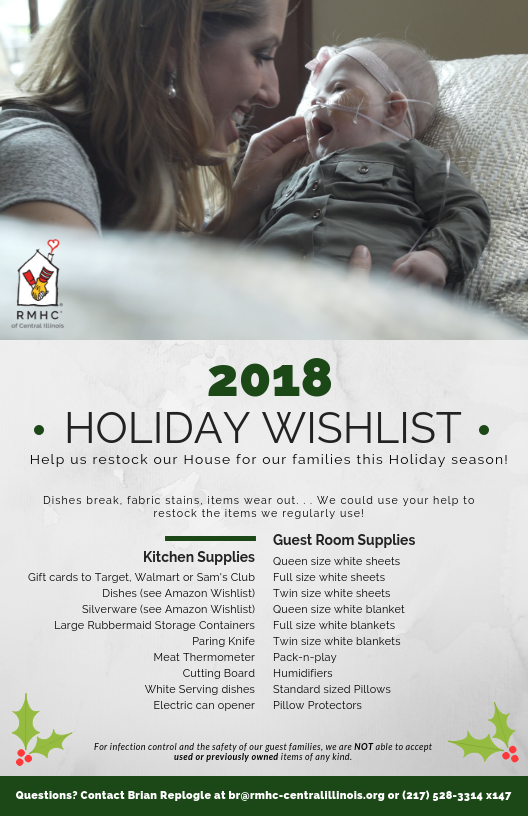 2018 Holiday Wishlist | Ronald McDonald House Charities of
