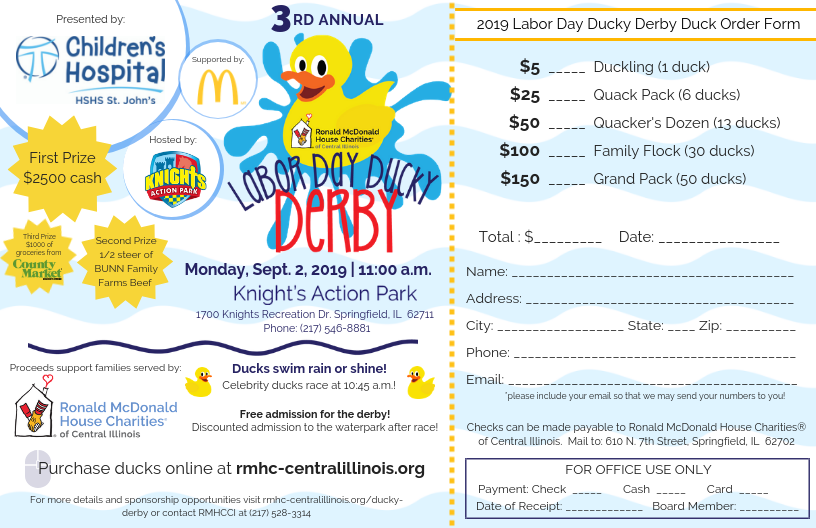 Ronald McDonald House Charities® of Central Illinois (RMHCCI) will hold their annual Labor Day Ducky Derby on Monday, September 2, 2019 at 11:00 a.m. at Knight's Action Park.