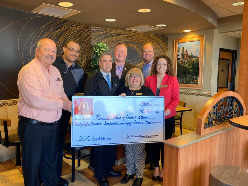 Pictured here are members of the Millan-Petro McDonald's Organization, Kent Walsh, Wes Byrd, Mikel Petro, Stephanie Schempp, and Jack Millan, with our Development Director, Kendyl Wear.