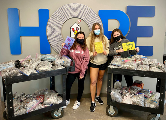 Thank you to our volunteers at Alpha Delta Pi at Illinois State University who dropped off 220 lbs of pop tabs and provided gift cards from Chili's Grill & Bar to feed families dinner at our House.