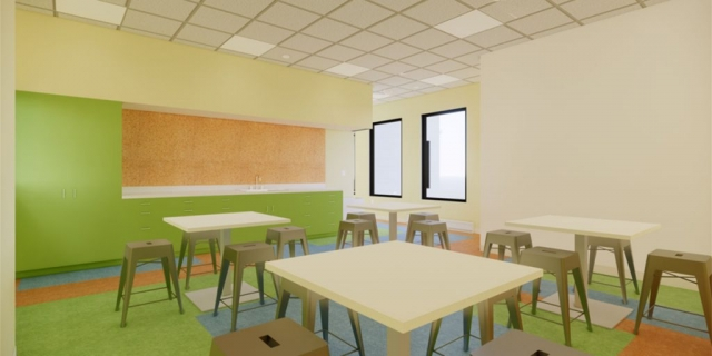 Art Room at the new Peoria Illinois Ronald McDonald House built by Ronald McDonald House Charities of Central Illinois