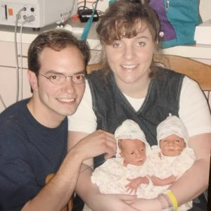 The Ellis Family, with twins in the Neonatal Intensive Care Unit (NICU) at HSHS St. John's Children's Hospital.
