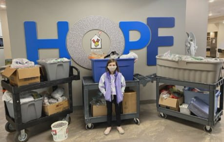 In less than three months, Jovie Kaeb collected thousands of pop tabs to donate to the Ronald McDonald House Charities of Central Illinois.