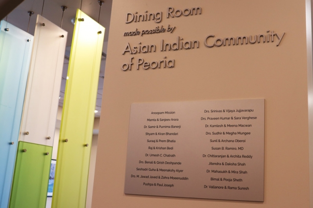 The Asian Indian Community of Peoria sponsored the family dining room at the Peoria Ronald McDonald House.