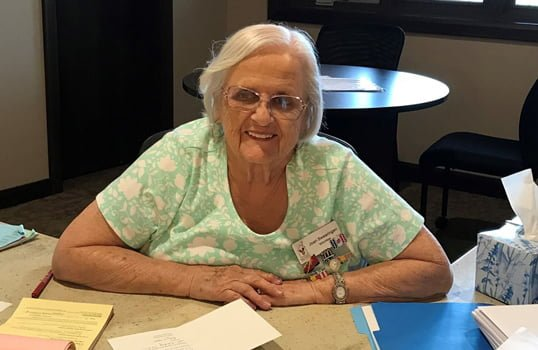 Joan Swearingen is our volunteer with the longest tenure! As a Guest Services volunteer, she helps families check-in and check-out of the Springfield House, answers questions, and much more! She also writes our thank you cards for in-kind donations.