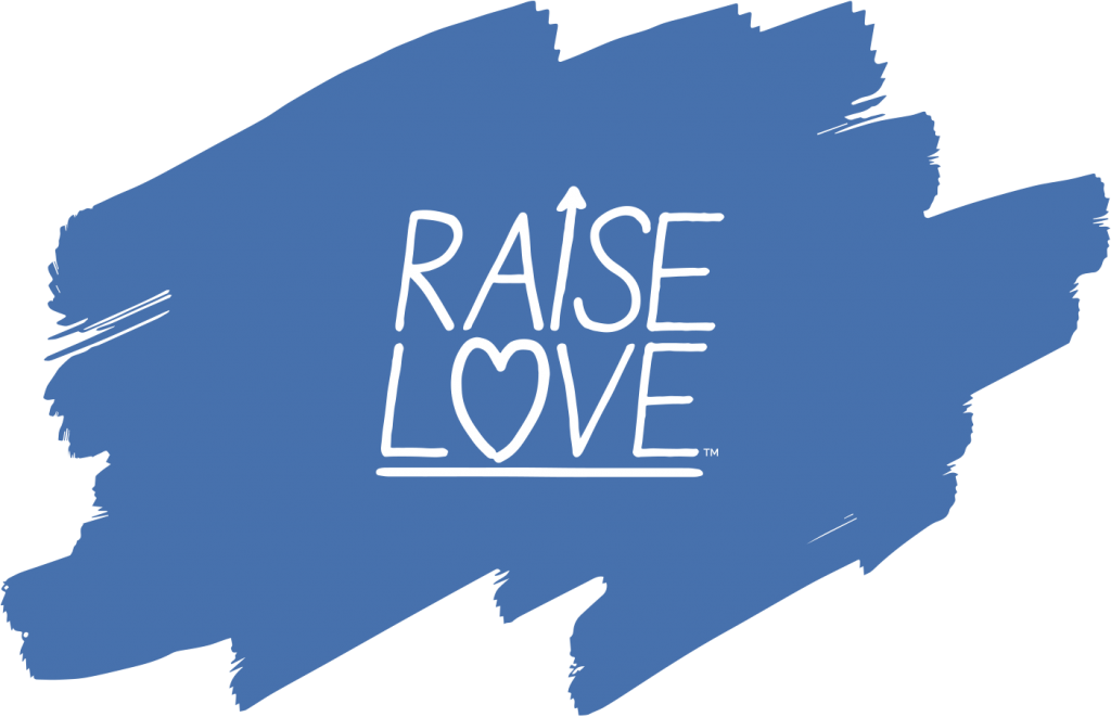 Raise Love logo over blue paint swash