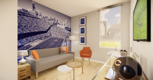 The Chicago Bear-themed mini-suite sponsored by Charles Tillman.