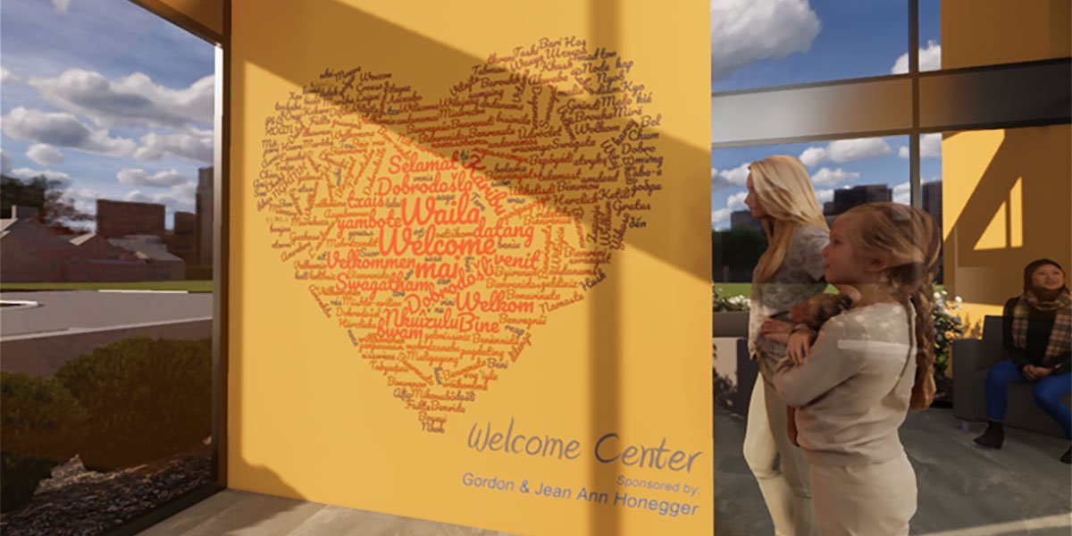 Welcome Wall at the new Peoria Illinois Ronald McDonald House built by Ronald McDonald House Charities of Central Illinois
