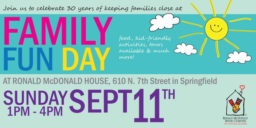 Join us as Ronald McDonald House Charities of Central Illinois continues to celebrate 30 years of keeping families close at our Family Fun Day!